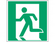 1: Notausgang links (Rettungsschild / Erste-Hilfe-Schild gemäß ISO 7010, ASR A1.3)