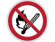 6: Verbotsschild - Keine offene Flamme, Feuer, offene Zündquelle und Rauchen verboten (gemäß DIN EN ISO 7010, ASR A1.3)