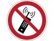 12: Verbotsschild - Eingeschaltete Mobiltelefone verboten (gemäß DIN EN ISO 7010, ASR A1.3)