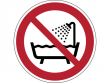 24: Verbotsschild - Verbot dieses Gerät in der Badewanne, Dusche oder über mit Wasser gefülltem Becken zu benutzen (gemäß DIN EN ISO 7010)